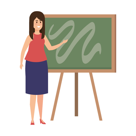 young teacher female with chalkboard vector illustration design Stock Vector - 124215711