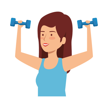 cute girl lifting dumbbells vector illustration design Stock Vector - 124221157