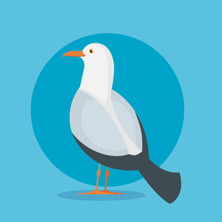 dove bird animal with wings and feathers over blue background vector illustration Stok Fotoğraf - 124231830