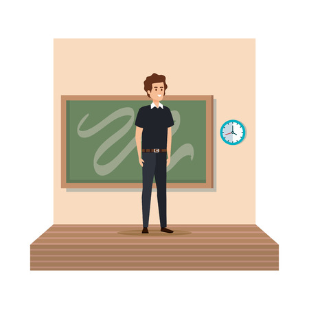 teacher male with chalkboard in classroom vector illustration design Stock Vector - 124311564