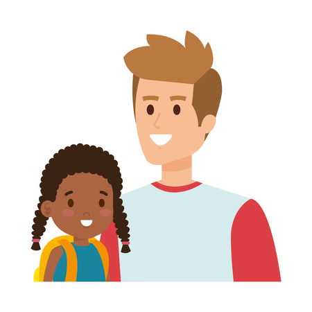 father with afro daughter characters vector illustration design