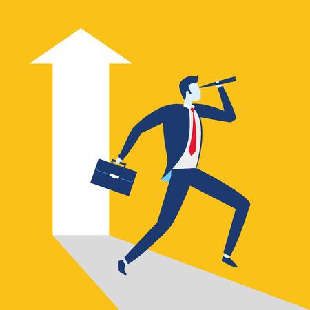 businessman looking telescope arrow growth business success vector illustration Ilustração