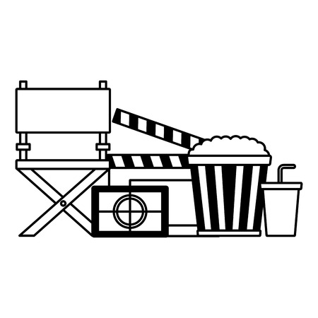 clapboard chair screen pop corn and soda film movie vector illustration Banque d'images - 124251008