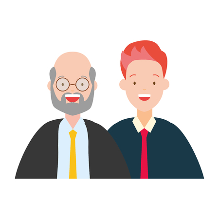 two men diversity characters vector illustration design
