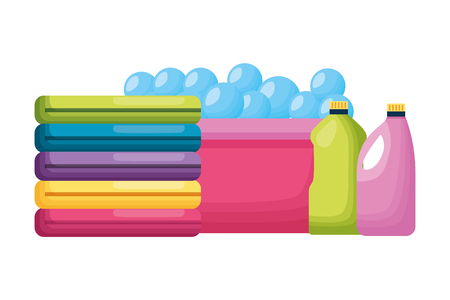laundry bucket clothes bottles spring cleaning tools vector illustration Ilustracja