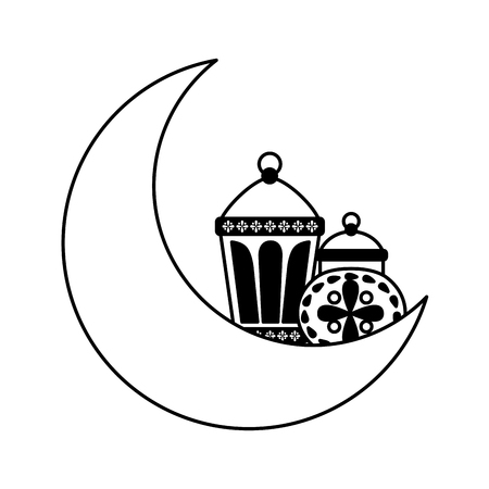lanterns and moon ornament on white background vector illustration