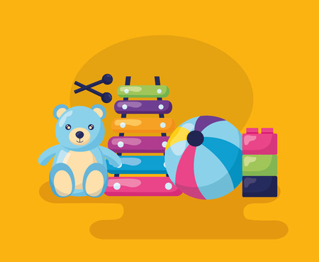 kids toys bear  xylophone ball blocks vector illustration Vectores