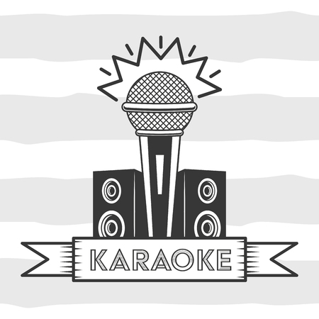 microphone and speakers sound karaoke retro style vector illustration 向量圖像
