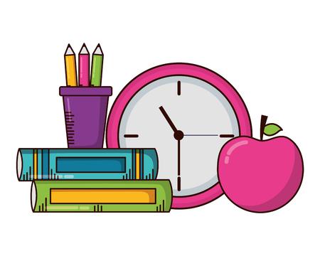 school clock apple books supplies vector illustration design 일러스트