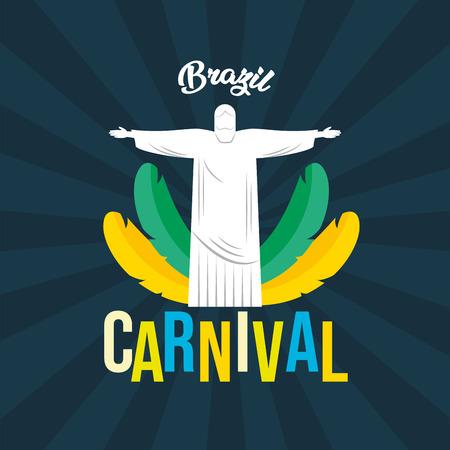 statue of christ redeemer feathers brazil carnival festival black background vector illustration