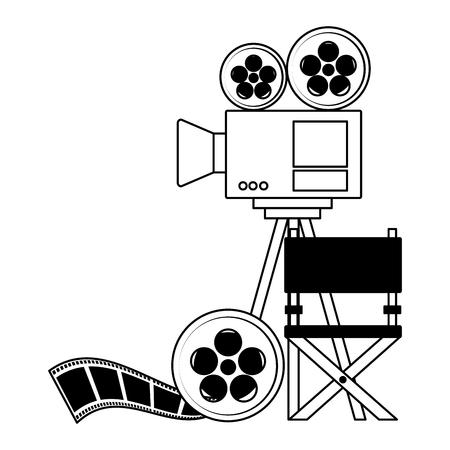 Bobine de projecteur bande chaise film cinéma design vector illustration Vecteurs