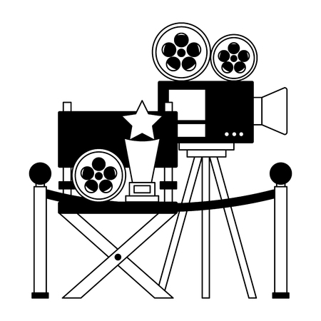 cinema movie projector chair award film reel vector illustration