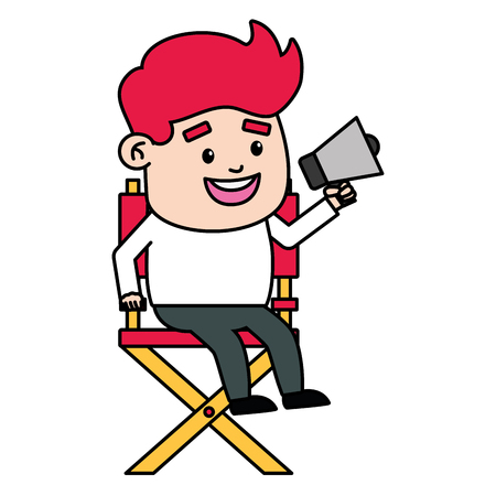 director man sitting with megaphone film production vector illustration