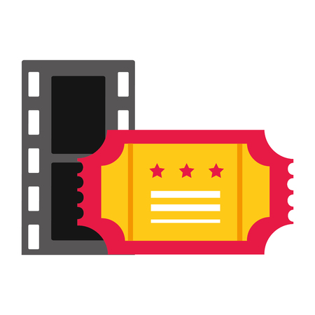 film strip and ticket cinema movie vector illustration