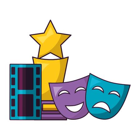 theater masks award film cinema design vector illustration