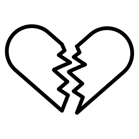 broken heart love two parts on white background vector illustration