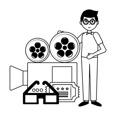 man camera ticket 3d glasses film movie vector illustration