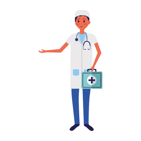 medical man practitioner character staff vector illustration Vector Illustration