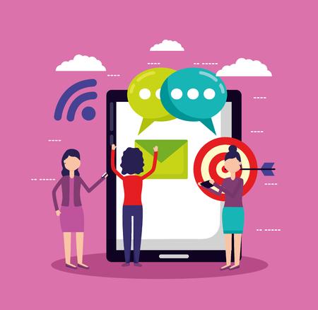 people smartphone target email message social media vector illustration Vektorové ilustrace