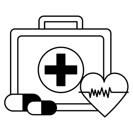 medical suitcase heartbeat pills medicinevector illustration