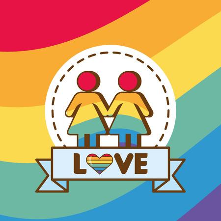 couple colors rainbow lgbt pride love vector illustration