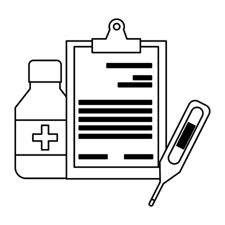 medical clipboard bottle thermometer digital equipment vector illustration