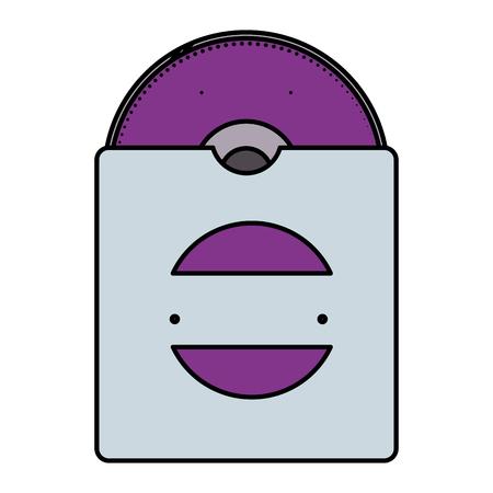 compact disk in bag with company emblem vector illustration design Ilustração