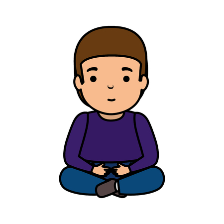 young man seated avatar character vector illustration design Foto de archivo - 124311944