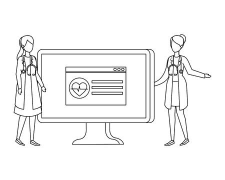 couple of professionals doctors with desktop vector illustration design Illustration