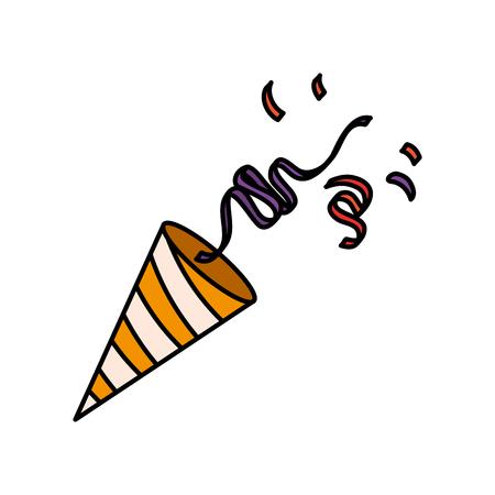 party cornet with confetti vector illustration design