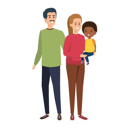 interracial parents couple with son characters vector illustration design Stock Vector - 124300821
