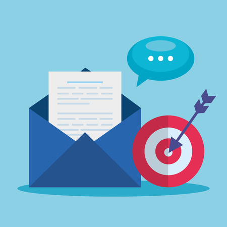 letter information with target and chat bubble vector illustration
