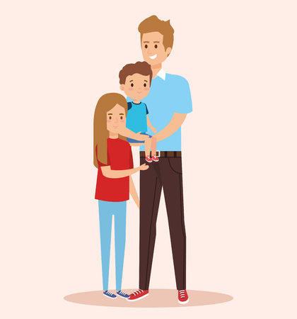 happy man with son and daughter with casual clothes vector illustration  イラスト・ベクター素材