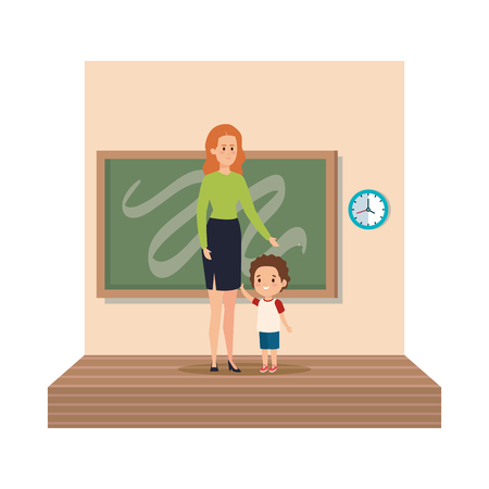 young teacher female with schoolboy classroom scene vector illustration design Stock Vector - 124304618