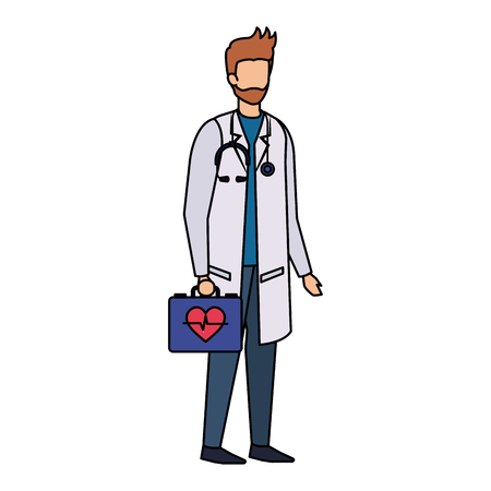 doctor with stethoscope and medical kit vector illustration design Illustration