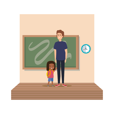 teacher male with schoolgirl in classroom vector illustration design Illustration