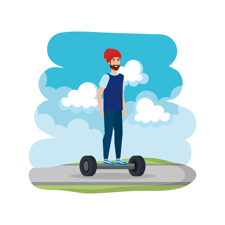 young man in hoverboard electric on road vector illustration design 일러스트