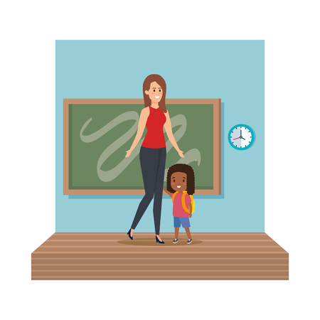 young teacher female with schoolgirl classroom scene vector illustration design Illustration