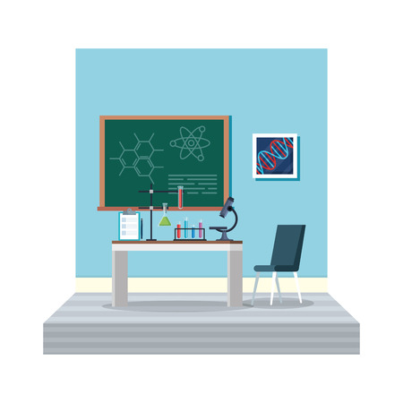 laboratory office workplace scene vector illustration design
