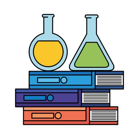 tubes test with pile books vector illustration design Illustration