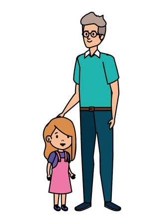 cute grandfather with grandaughter vector illustration design