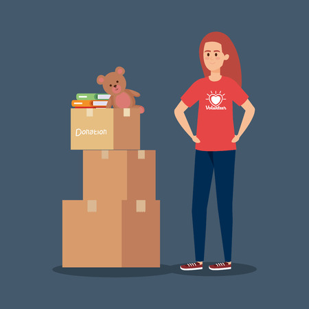 girl volunteer with boxes and books with teddy vector illustration