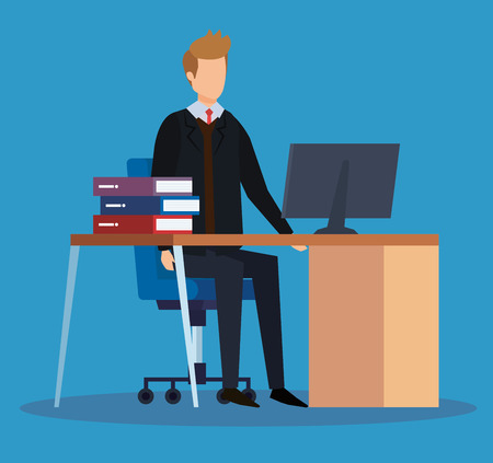 professional businesswoman with computer in the desk and books vector illustration Illustration