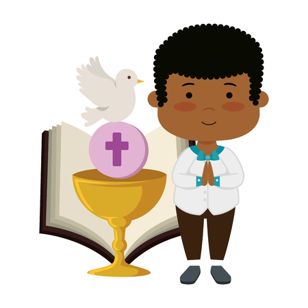 little black boy with bible and chalice first communion vector illustration design Banque d'images - 124377293