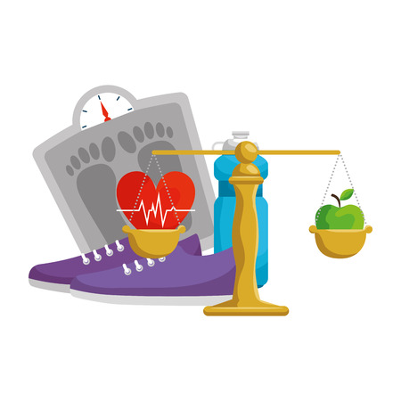 heart cardio with healthy lifestyle icons vector illustration design  イラスト・ベクター素材