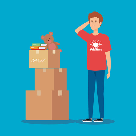 boy volunteer with boxes donation and books vector illustration