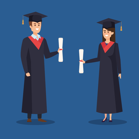 woman and man university graduation with rope and diploma vector illustration Ilustrace