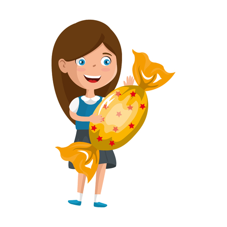 little girl with sweet candy vector illustration design Standard-Bild - 124393185