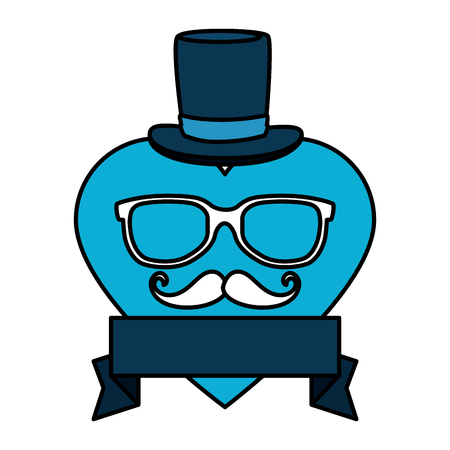 eyeglasses and mustache with tophat in heart vector illustration design Illustration
