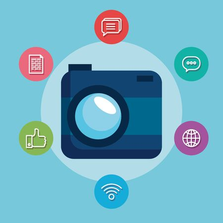 digital camera technology with social media vector illustration